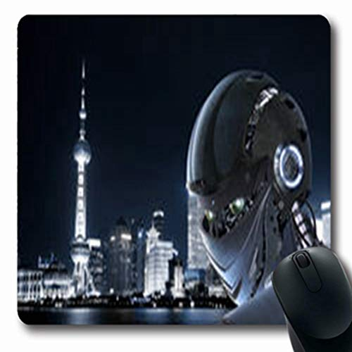 (Pandarllin Mousepads Skyscraper Robot Pearl Shanghai City Abstract Person Oblong Shape 7.9 x 9.5 Inches Oblong Gaming Mouse Pad Non-Slip Rubber Mat)