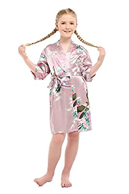 YueQiW Girls'Peacock Satin Kimono Flower Robe For Spa Party Wedding Birthday