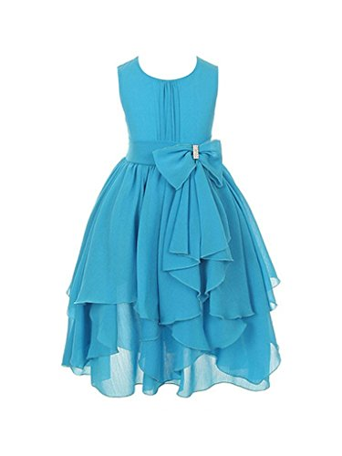 H.S.D Flower Girls Princess Dress Kids Wedding Party Chiffon Blue
