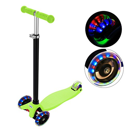 Age 6 Light - ANCHEER MG1 Kids Scooter for Age 3-12, 3 Wheel Kick Scooter, PU LED Light Wheels ABEC 7, 4 Adjustable Heights, 132lbs Weight Limit (Green)