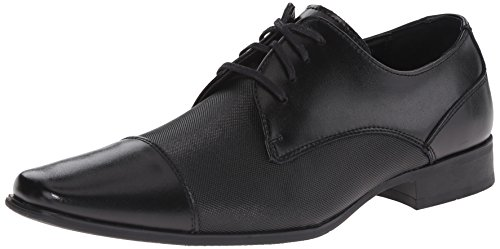 Calvin Klein Men's Bram Diamond Leather Oxford, Black, 9.5 M US