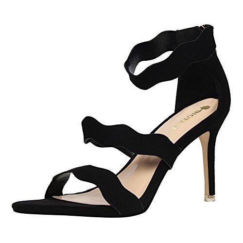 con Moda amp;dw ondas con terciopelo hueco señoras palabra altos verano sandalias de Negro cara zapatos tacones Slim una z dulce con B8A75qndAw