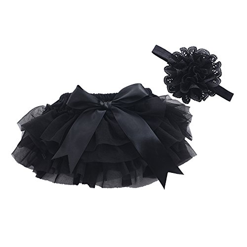muyan Girls Cotton Tulle Ruffle with Bow Baby Bloomer Diaper Cover and Headband Set (Black, M(6Month-12Month))