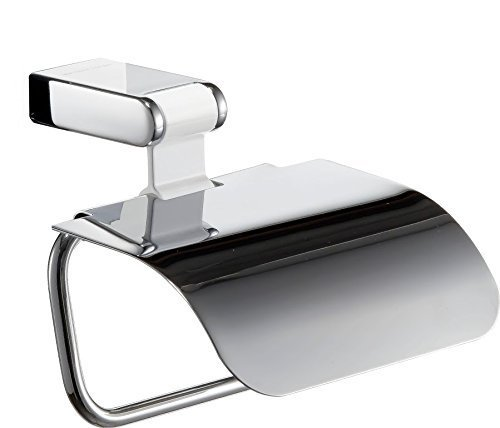 Hispania bath Iris Toilet Paper Roll Holder with Lid, Polished Chrome-white Aluminium, Bathroom Accessories Tissue Holder, Made in Spain (European Brand) by Hispania bath