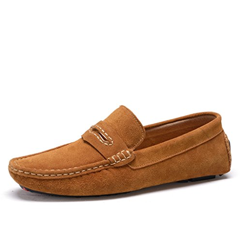 Minitoo Men's gestreift, verklagt Leder Mokassins Slipper Boat Shoes Braun
