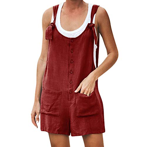 (Goddessvan 2019 Women's Strappy Jumpsuits Overalls with Button Pocket Linen Vintage Shift Spaghetti-Strap Rompers Wine)