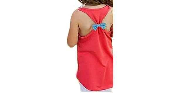 bcba0940b73d Girls Kids Anchor Vest Sleeveless Summer Clothes Cotton Tank Tops Bowknot T- Shirt  Amazon.ca  Clothing   Accessories
