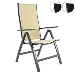 Sillas plegables deluxe de aluminio tapizadas, negro, crema, silla de jardín, silla relax, silla de camping, estructura de antracita plateada, beige