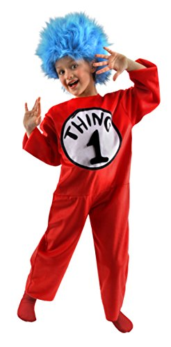 elope Dr. Seuss Cat in the Hat Child Thing 1, 2, 3 or 4 Costume Small Red]()