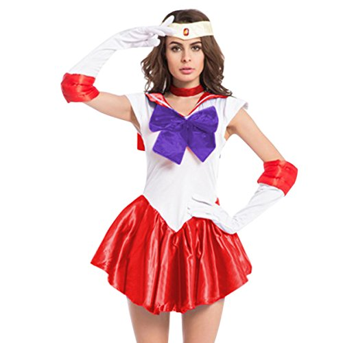 [Quesera Women's Sailor Moon Costume Mercury Mars Fancy Dress Halloween Cosplay Outfit, Red,] (Sailor Saturn Costume)