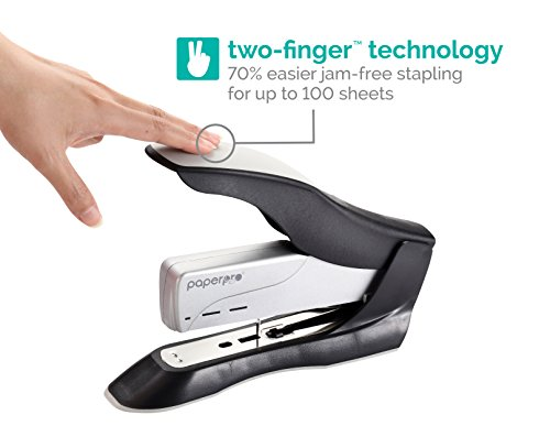 PaperPro inHANCE+100 Heavy Duty Stapler - Two Fingers, No Effort, Spring Powered Stapler - 100 Sheets, Gray (1300) by PaperPro (Image #1)