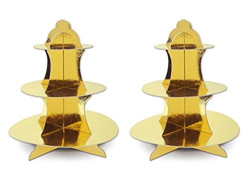 "Beistle 59990-GD Metallic Cupcake Stands, 13.5"", Gold, 2 Piece Pack"