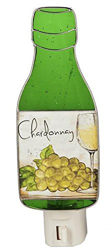 Green Chardonnay Wine Bottle Stained Glass Night Light - By Ganz