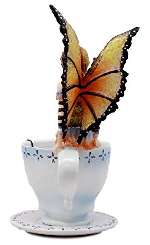 Ebros Gift Amy Brown Teacup Mocha Coffee Fairy Figurine Whimsical Faerie  Figure 6 5