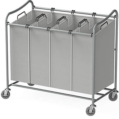 Simple Houseware 4-Bag Heavy Duty Laundry Sorter Rolling Cart