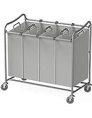 SimpleHouseware 4-Bag Heavy Duty Laundry Sorter Rolling Cart, Grey