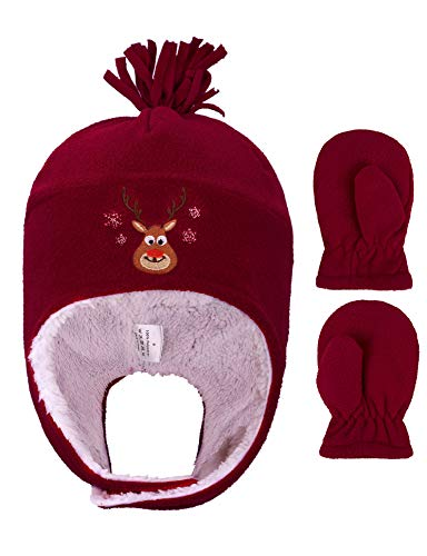 Girls Polar Fleece Winter Set Outdoor Hat and Mittens,Reindeer Red,5-7 Years