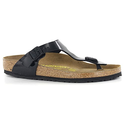 Birkenstock Women's GIzeh Thong Sandal, Black Patent, 39 M EU/8-8.5 B(M) - Buckle Look Black New Wet