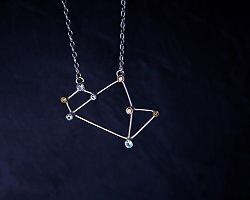 "Sagittarius Constellation (""Teapot"" asterism) necklace - sterling silver, natural yellow citrine and synthetic blue spinel- READY to SHIP"