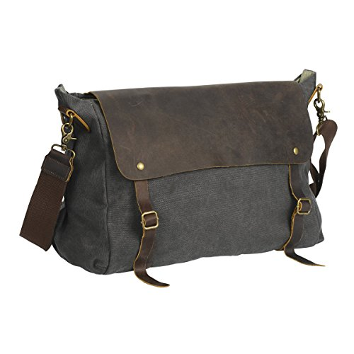 Wonder Youth Canvas Messenger Bag Leather Shoulder Bag Book bag for Man and Women – Grey-L (Messenger Fully Lined Bag)