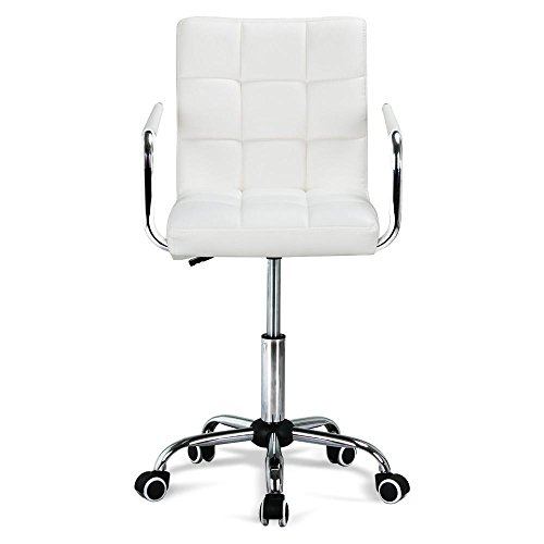 Gotobuy White Modern Office Leather Chair Hydraulic Swivel Executive Computer Desk Task Chair by Gotobuy
