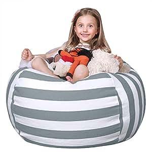 FLORICA Stuffed Animal Storage Bean Bag Kids Bean Bag Chair Plush Toy Organizer Stuffed Storage Bag Cotton Extra Large (Grey&White Stripes)