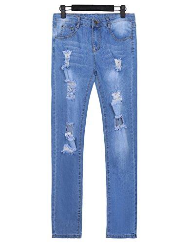 Blu Blue Burvogue Jeans Da Denim 4 Skinny Pantaloni Donna Distressed qEp4w8x4A