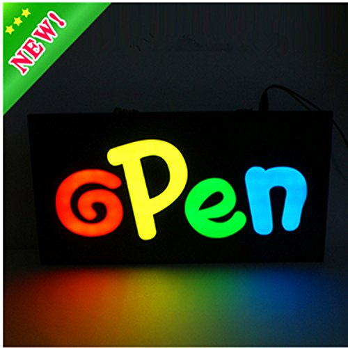 Keria 17 9 inch NEW Waterproof BRAND LED OPEN SIGN BOARD led epoxy resin sign +On/Off Switch Bright Light neon Fixed/flash mode (Led Sign New)