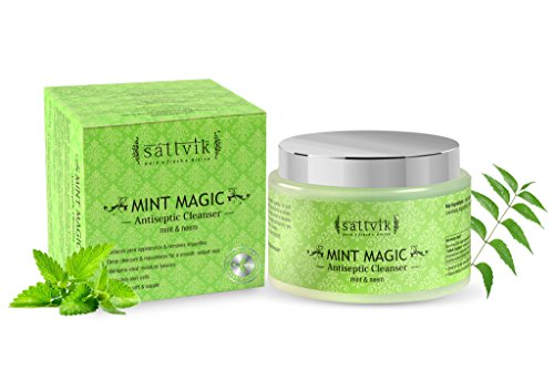 Sattvik Organics Mint Magic - Clarifying Face Cleanser, With Mint & Neem • Clears Pore Appearance & Impurities • Deep Cleanses & Rejuvenates for Smooth, Radiant Skin • Maintains Moisture Balance -