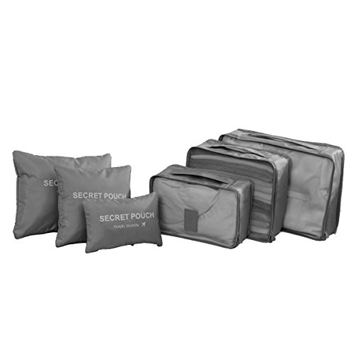 Clothes Storage Travel Luggage Organizer Pouch (Grey) Set of 6 - 1