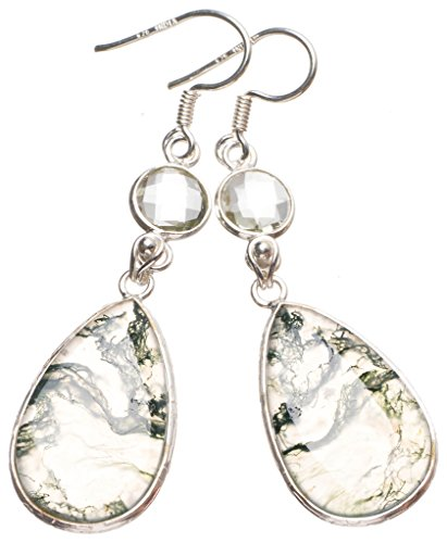 StarGems(tm) Natural Moss Agate and Green Amethyst Handmade Unique 925 Sterling Silver Earrings 2