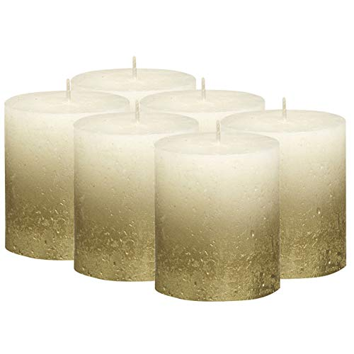 - BOLSIUS Rustic Fading Metallic Gold & Ivory Candles – Set of 6 Pillar Candles – Ivory Candles with a Fading Gold Metallic Coat – Perfect Décor Candle – Wedding – Party – 80/68mm 2.75X3.25 inch