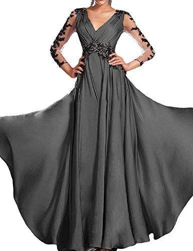 Bridesmaid Sleeves Wedding Long Appliqued Bridal Dress Grey Amore Women's Lace wqXT0wgZ