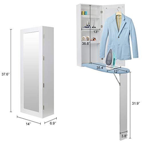 qotone White Wall Mount Ironing Board Center Cabinet with Mirror and Storage Shelves-US