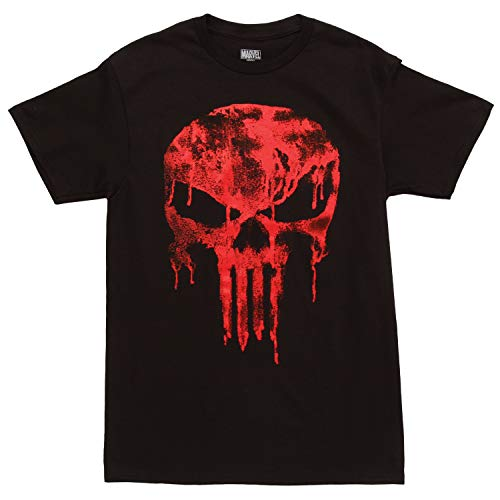 Punisher Logo Red Drip Adult T-Shirt - Black (XX-Large)
