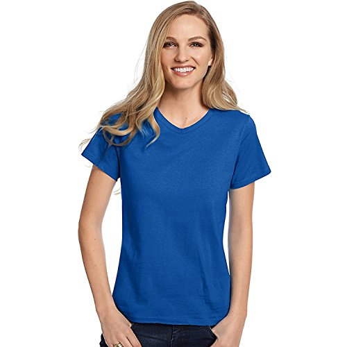 Hanes Relaxed Fit Women's ComfortSoft V-neck T-Shirt -  Blue -