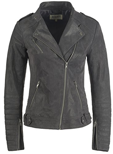 Women's Zalla Biker Jacket Genuine Leather Made with Leather 2890 Jacket Grey Desires of Collar Revers Dark g5dqIwg