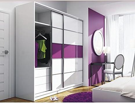Moderno Dormitorio Espejo Armario de Puertas correderas Dubaj Purple- 7,4 m/226 cm Ancho: Amazon.es: Hogar