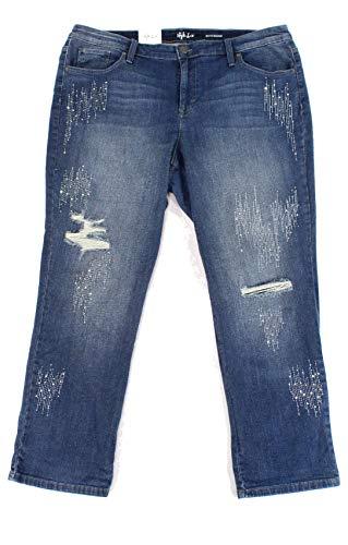 Style & Co. Womens Jeans Plus Rhinestone Boyfriend Stretch Blue 16W -  100038788W