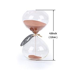 Biloba 4.8 pulgadas de arena de soplo Timer/Hourglass 30 minutos - Cocoa Color Sand - Inspired Glass/Inicio, Escritorio, Decoraci¨®n de Oficina 3