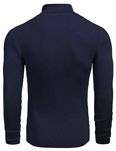 Bleu Hiver Sous Coofandy Longues Pull Roulé Marine Casual Manches À Haut Homme Pullover Col qwqftS74