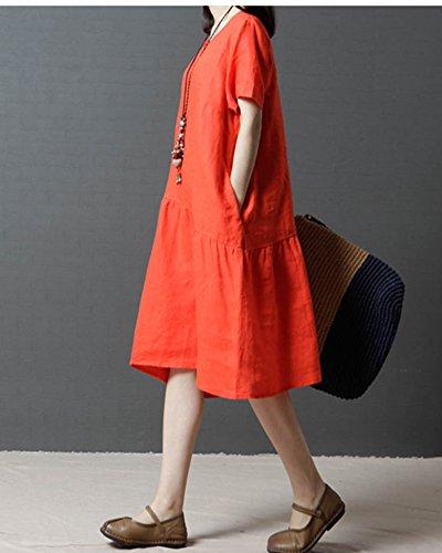 Casual Scollo Lungo Corta Arancione Abito Manica Lino Penggenga Vestito Cocktail Donna Rotondo Cotone vONn0m8w