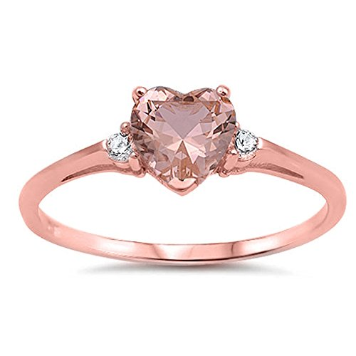 Oxford Diamond Co Sterling Silver Heart Promise Ring Sizes 3-12 (All Colors Available) (Rose Gold Plated Simulated Morganite, 9)