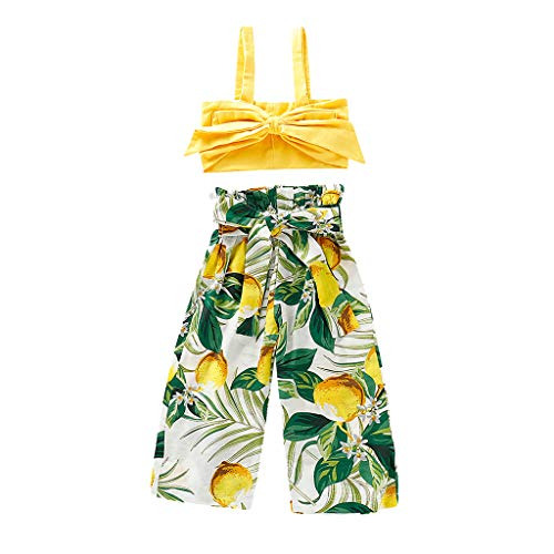 Kuerqi Toddler Kids Beach Outfits,Toddler Baby Girls Sleeveless Solid Bow Vest Tops Bliouse T Shirt Tee +Lemon Print Pants Princess Casual Outfits Set for 6M-4Y