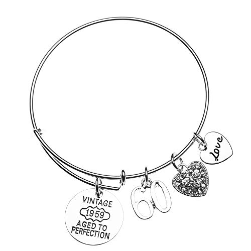 Infinity Collection 60th Birthday Gifts for Women, 60th Birthday 1958 Aged to Perfection Charm Bracelet, Perfect 60th Birthday Gift Ideas