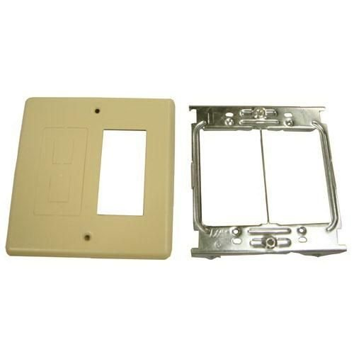 Wiremold V4047RF Rectangular Opening and Modular Furniture 2-Gang Overlapping Cover Steel Ivory For Use With 4000 Series Multiple Channel Raceway