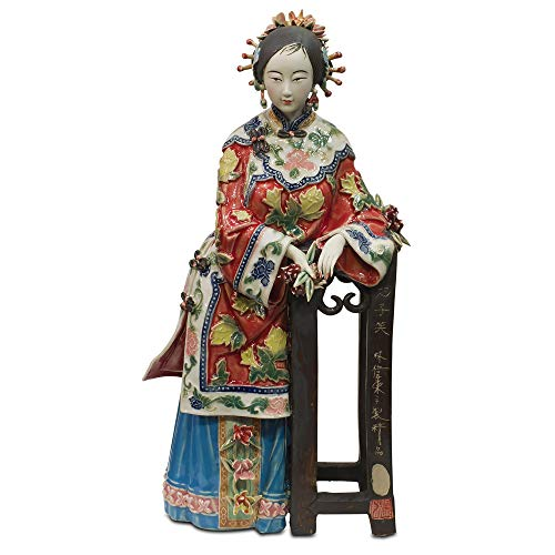 (ChinaFurnitureOnline Chinese Porcelain Doll, Standing Qing Maiden with Pedestal Red)