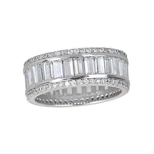 (Decadence Women's Sterling Silver Baguette Eternity Ring, Size 6)