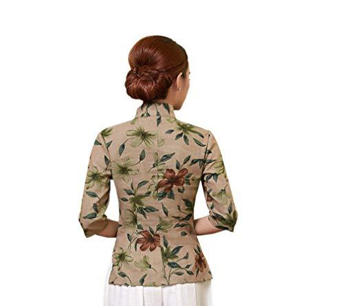 Donna Fit Cheongsam Stile Stampa Tops Slim Fiore Shirts Cinese Elegante 3 Coreana Collo Primaverile Manica Magliette 4 Festivo 4 Moda Vintage Farbe Ragazza Camicetta Autunno Blusa Basic Button trgzrq