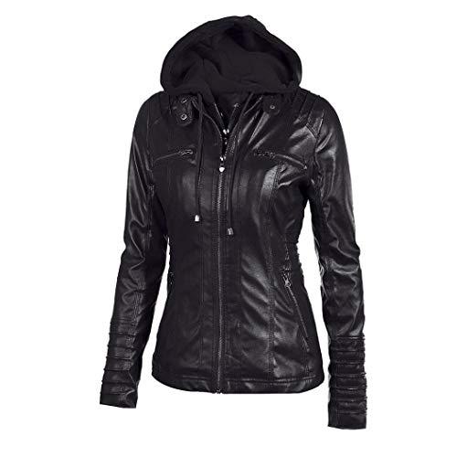 Rambling Womens Hooded Leather Jacket, Slim Overcoat Coat Lapel Removable Zipper Outwear Tops by Rambling (Image #1)